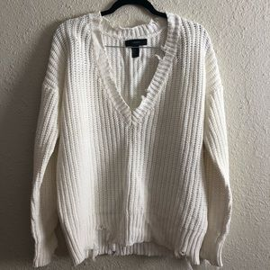 Oversized distressed sweater